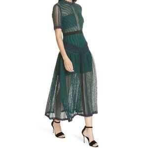 SELF-PORTRAIT Green Wave Lace Midi Dress